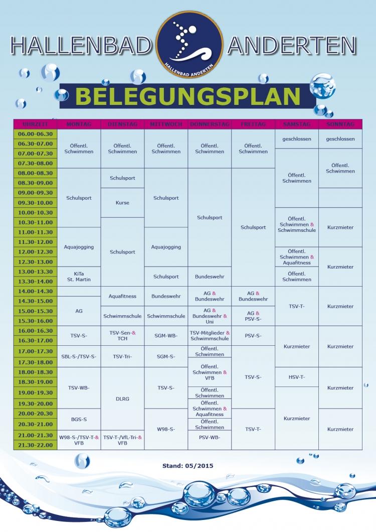 Belegungsplan Hallenbad Anderten